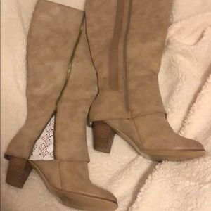 Torrid Boots Tan with Lace inset Women 13